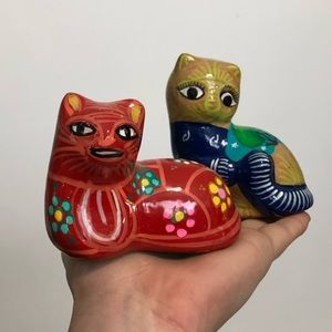 Anthropologie Accents - Set of two hand painted in Mexico ceramic cats